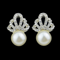 Wholesale Brinco Perola Imitation Pearl Brincos Pequenos White Rhinestone Silver Color Stud Wedding Earrings For Women Fashion Joyas