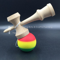 ball boutique - rasta kendama rubber paint adult Boutique beech wood Funny Japanese Traditional Game Toy Ball colorful Elastic