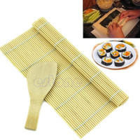 Wholesale Sushi Rolling Maker Bamboo Material Roller DIY Mat and A Rice Paddle order lt no track