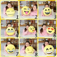 Wholesale 12 Styles Soft Emoji Smiley Emotion Cushion Pillow Stuffed Plush Toy Doll Christmas Present Cartoon Facial Creative Pillows