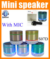 blue tooth - S07D Portable mini Bluetooth speaker with LED light MIC wireless Hifi subwoofer blue tooth home stereo system speaker for cell phone MIS013
