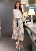 Wholesale 2016 Spring Summer Print Dress Culottes Flower Small Fragrant Wind Cotton Suit Jacket Chiffon Wide Leg Pants Fashion Suit