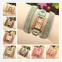 Wholesale High Quality New Velvet Wrap Watches Women Quartz Watches Leather Wrist Watches Rectangular Dial Charming Bracelets Watches Mix Colors