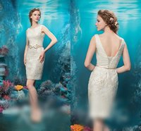 Wholesale New Arrival Reception Bridal Dresses Mini Length Low Back Lace up Back Lace Wedding Dresses Beaded Pearls Sheath Wedding Gown