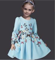 winter long sleeves dress - 2016 Spring DG Style D Butterfly Dress Headband Kids Girls Long Sleeve Princess Tutu Dresses Children Clothes K6213