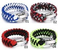 stainless steel buckle - New outdoor survival bracelet umbrella rope u shaped stainless steel buckle fishbone type woven outdoor weaving bracelets outdoor equipment