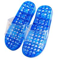 acupressure shoes - Bathroom Massage Slippers Pierced Acupressure Slimming SPA Beads Massage Shoes Slipper Bathroom Washing Shower Slipper Sandal