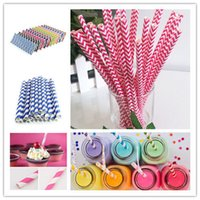 Wholesale 25 New Muliti Color Biodegradable Paper Drinking Straws Party Wedding Decoration Striped Dots