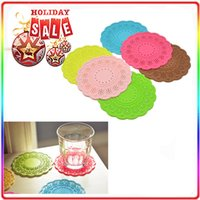 Wholesale Round Cup Mat Lace Cup Color Vary Romantic Elegant Stain Resistant Hot Silicone Coasters Pack Color DHL
