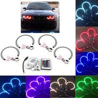 Wholesale 4 mm SMD LED Car Angel Eyes Remote Control Kit Xenon Head light Bulb RGB Multi color for BMW E36 E38 E39 E46 K1291
