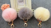 Wholesale 10colors Lovely fur ball bag accessories Keys Hangings Accessories Fuzzy Ball keychain Car key rabbit ball bag ornaments big hair fox Plush