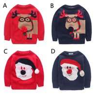 Wholesale Brand New Color Children Santa Claus deer cartoon Sweaters new Boys Girls Knitted Cardigan Long Sleeve Sweater Pullover