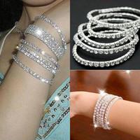 alloy bracelet - One Row Rhinestone Austria CZ Bracelets Crystal Wedding Bride Stretchy Bangle Wristband Jewelry Bracelet
