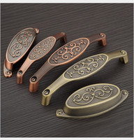 Wholesale Red Bronze Solid ancient antique copper elegant handle cabinet knob locker pull kitchen drawer accessories with Pitch row mm