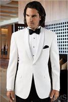 best holiday dresses - New Stylish Shawl Lapel White Groom Tuxedos Best Men s Wedding Dress Prom Clothing Holiday Suit Custom Made