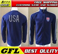 jacket team - Top Quality quality USA National Team Soccer Jacket USA Team Blue TRAINING SPORTSWEAR US National Soccer Jersey Jacket