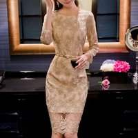 Cheap Graceful Sheath Cocktail Dresses Lace Sash Crew Neck 3 4 Long Sleeve Zipper Back Knee-Length Club Gowns In Stock Cheap On Sale