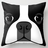 Wholesale Black White Dog Boston Terrier x18 inch Soft Glossy Throw Pillow Case Pillowcase Cover twin sides