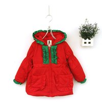 Wholesale New Arrival Christmas Girls Clothing Winter Coat Cotton Thick Red Green Color with Warm Hat and Pockets Cute Kids Clothes