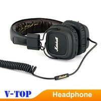 Cheap 2pcs lot Marshall Major Leather Noise Cancelling Deep Bass Stereo Monitor DJ Hi-Fi Headphones Headset W Remote HK free ship