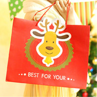 Wholesale 25 cm Christmas Elk Red Gift Bag Merry Christmas Paper Candy Bag Party Favors Gift Wrap Dropshipping WS085