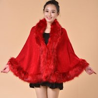 Wholesale Cashmere Shawl of Women s Fox Fur Collar Style Winter Fashion High Quality Cashmere Shawl Exempt Postage M015