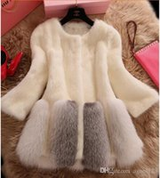 mink cashmere - New Imitation Mink Winter Fur Coat Fashion Medium Long O Neck Slim White Faux Fur Coat For Women Outerwear hight quality