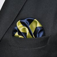 mens tie handkerchief - PH27 Stripes Navy Blue Yellow Khaki Pocket Square Mens Neckties Jacquard Woven Handkerchief Hanky