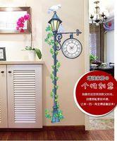 Mechanical antique street clock - Large White Bird Street Lamp Light Home Wall Clock Wall Decal Sticker
