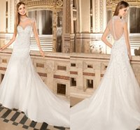 Cheap 2015 Demetrios A Line Wedding Dresses High Neck Illusion Back Features a Button Closure Beads Crystals Chapel TrainTulle Bridal Dresses