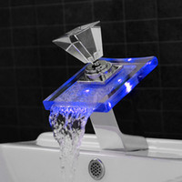 bathroom tap ware - Single Handle Waterfall Faucet Tap Led Thermostat Waterfall Spout Colors Bathroom Basin Sink Mixer High Class Sanitary Ware Amazon A T036
