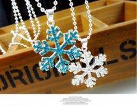 Encanto 100pcs del copo de nieve de regalo de cumpleaños los niños del partido Joyería Elsa Rhinestone del copo de nieve colgante de collar de niños Kids envío libre
