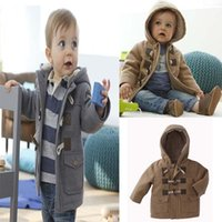 Wholesale Christmas Winter Coats Baby Boys Clothes Horn Button Fleece Hooded Overcoat Babies Kids Jacket Clothing Thickening Outerwear Factory Direct