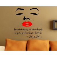 bedroom bedding - Christmas gift Marilyn Monroe Red Lip Portrait Wall Sticker Sitting Living Bed Room Decoration home decoration w