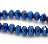 Wholesale hot Dark Blue AB Color Crystal Glass Faceted Rondelle Beads mm Approx B14945