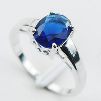 Wholesale Blue Sapphire Sterling Silver Ring Size PR02
