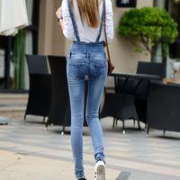 bib jumper - Fall Fashion Light Blue High Waisted Skinny Jeans Femme Overalls Cargo Pants Jumper Denim Dungarees Plus Size Bib Pants3Xl Xl