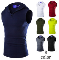 sleeveless hoodie - fashion mens Sleeveless hoodie undershirt men vests The new personalized color men s hooded stretch cotton bottoming vest Slim fit