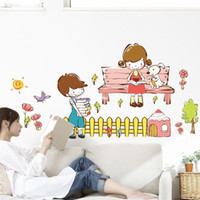 background for boys - Wall stickers home decoration Removable PVC manufacturers boys and girls love story television background decorative wall sticker