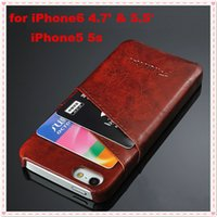 """Cheap New listing iPhone5 5S iPhone6 4.7"""" Plus 5.5"""" Ultra Slim Oil-wax Leather Case Hard Back Cover With Credit Card Slots For iPhone5 5S 6 MQ20"""