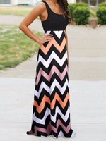 chevron dresses - 2016 Women Maxi Dress Contrast Chevron Tank Sleeveless High Waist Casual Summer Style Dress Vestidos