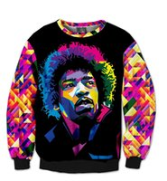 Wholesale new fashion men women D sweatshirt Harajuku print Jimi Hendrix tie dye o neck sweat shirt pullover hoodies