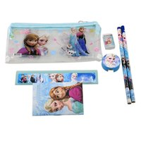 gift item wholesale - Frozen Kids Learning Items Students Children Stationery encil Cases Elsa Anna Bags Ruler Frozen Pencils cm Bag