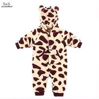 Nouveau-né beaux vêtements pour bébés Automne Hiver Vêtements bébé Girafe Elephant Zebra Lapin animaux Baby Style Romper 35
