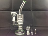 Wholesale New two function green glass bongs smoking water pipe with Titanium Nail Glass Nail mm cm can for tobacco and oil rig Hookahs