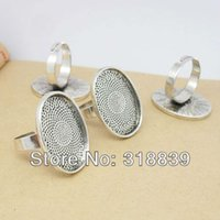 Cheap Wholesale-Trendy Antique Silver Alloy Adjustable Ring Bases Blanks Cabochon Rings Settings Fit DIY Rings Making 10pcs 18*25mm 6255