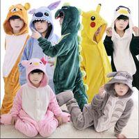 baby onesie sets - New Baby Boys Girls Pajamas Autumn Winter Children Flannel Animal funny animal Stitch panda Pajamas Cosplay Kid Onesie Sleepwear
