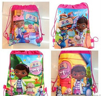 Wholesale Hot selling new DOC mcstuffins school bag party gift for children for kid s cartoon drawstring backpack schoolbag