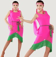 Wholesale Ladies Translucent Latin Dance Sleeveless Backless Dress With Tassel Chiffon Cloak Stage Dance Costume tl101