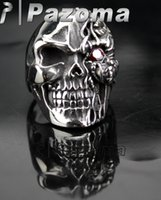 punk - Cool Fashion Face Horror Flame Ruby Red Eye Skull Stainless Steel Punk Ring US Size Biker Punk Tattoo Gothic Hot Sale Pazoma